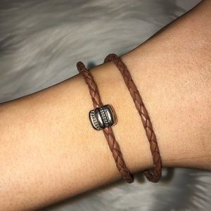 Double Brown Leather Pandora Bracelet With Charm